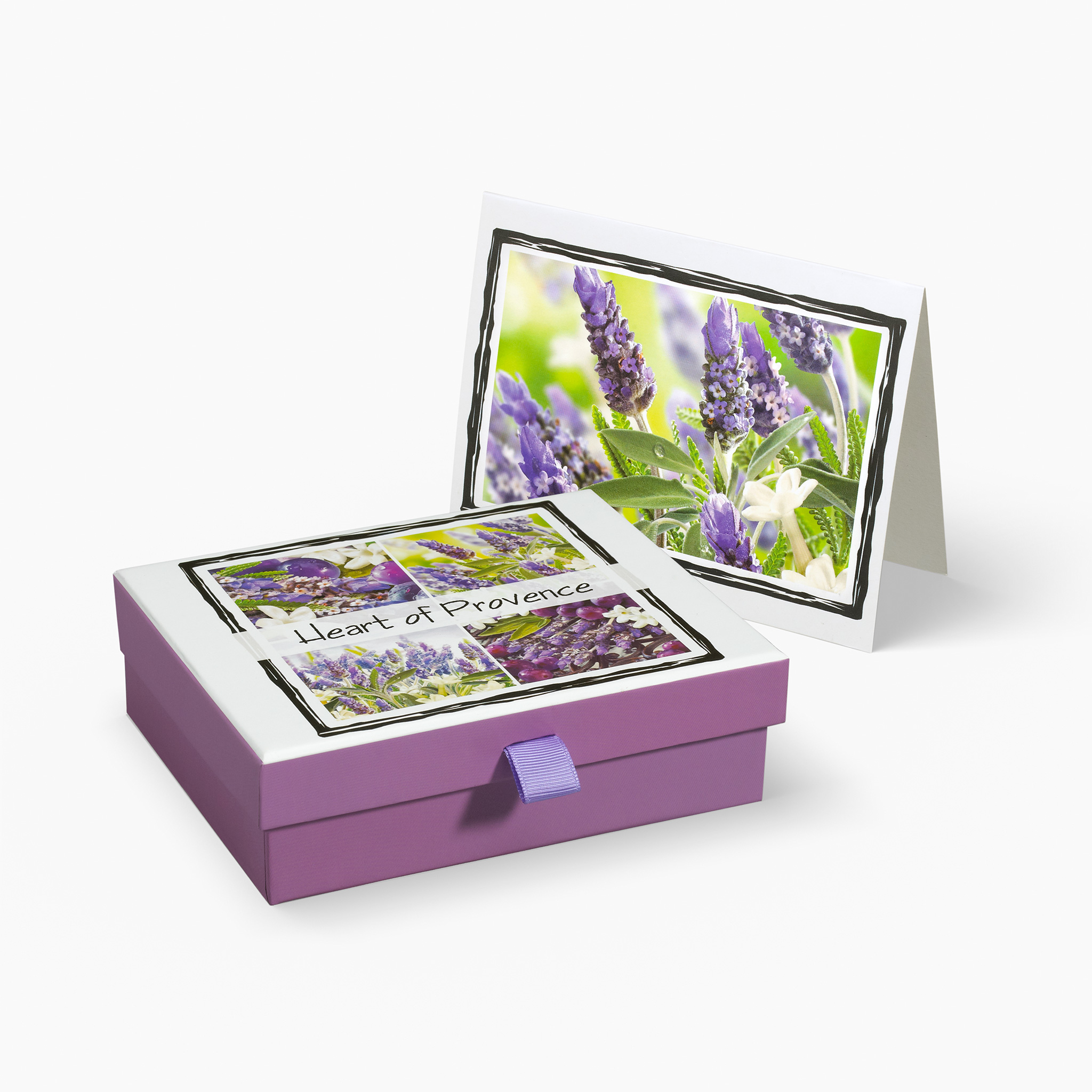 Nabila K's Heart of Provence Card and Envelope Stationary with a box holding the cardss