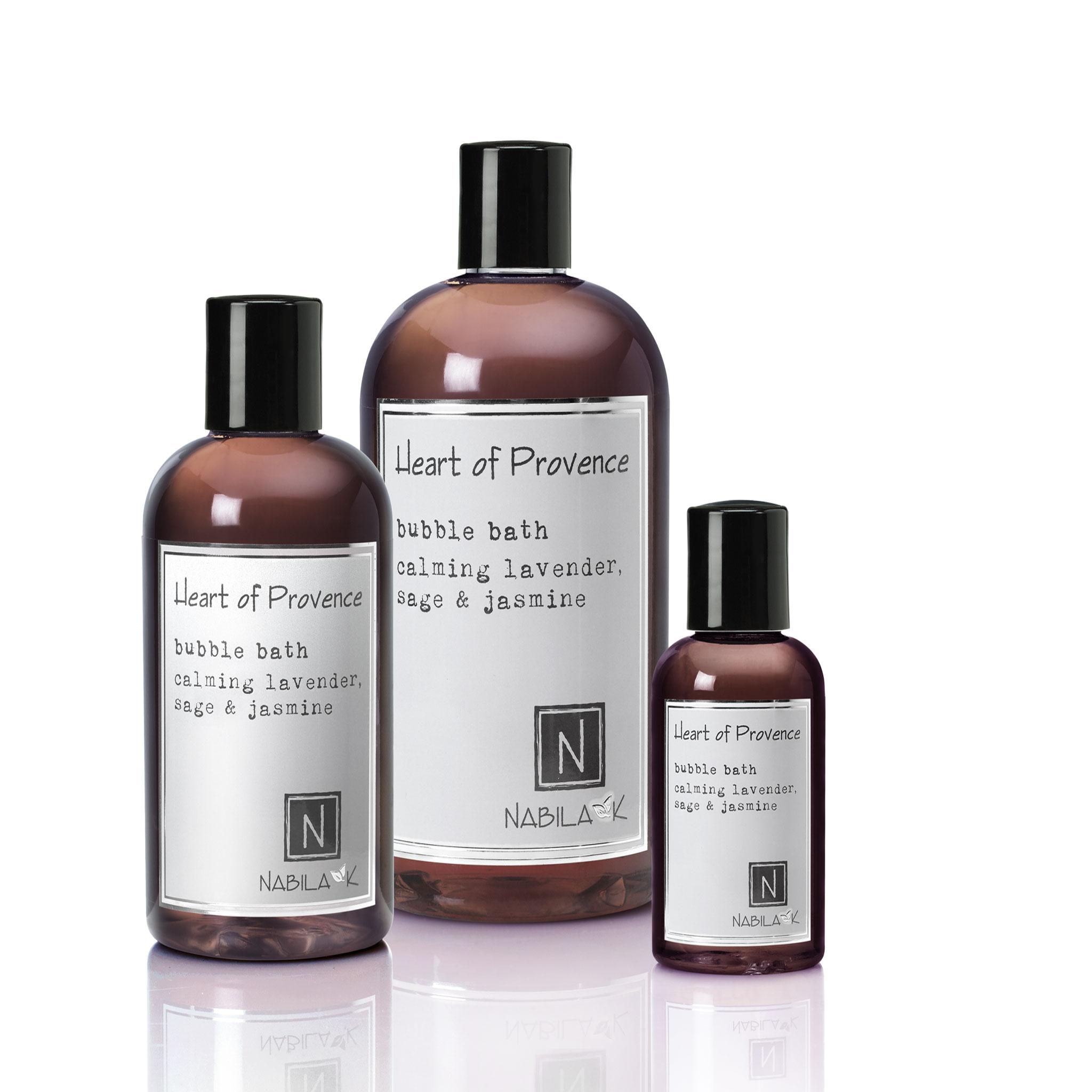 1 2oz bottle and 1 8oz bottle and 1 16oz bottle of heart of provence bubble bath calming lavender sage and jasmine