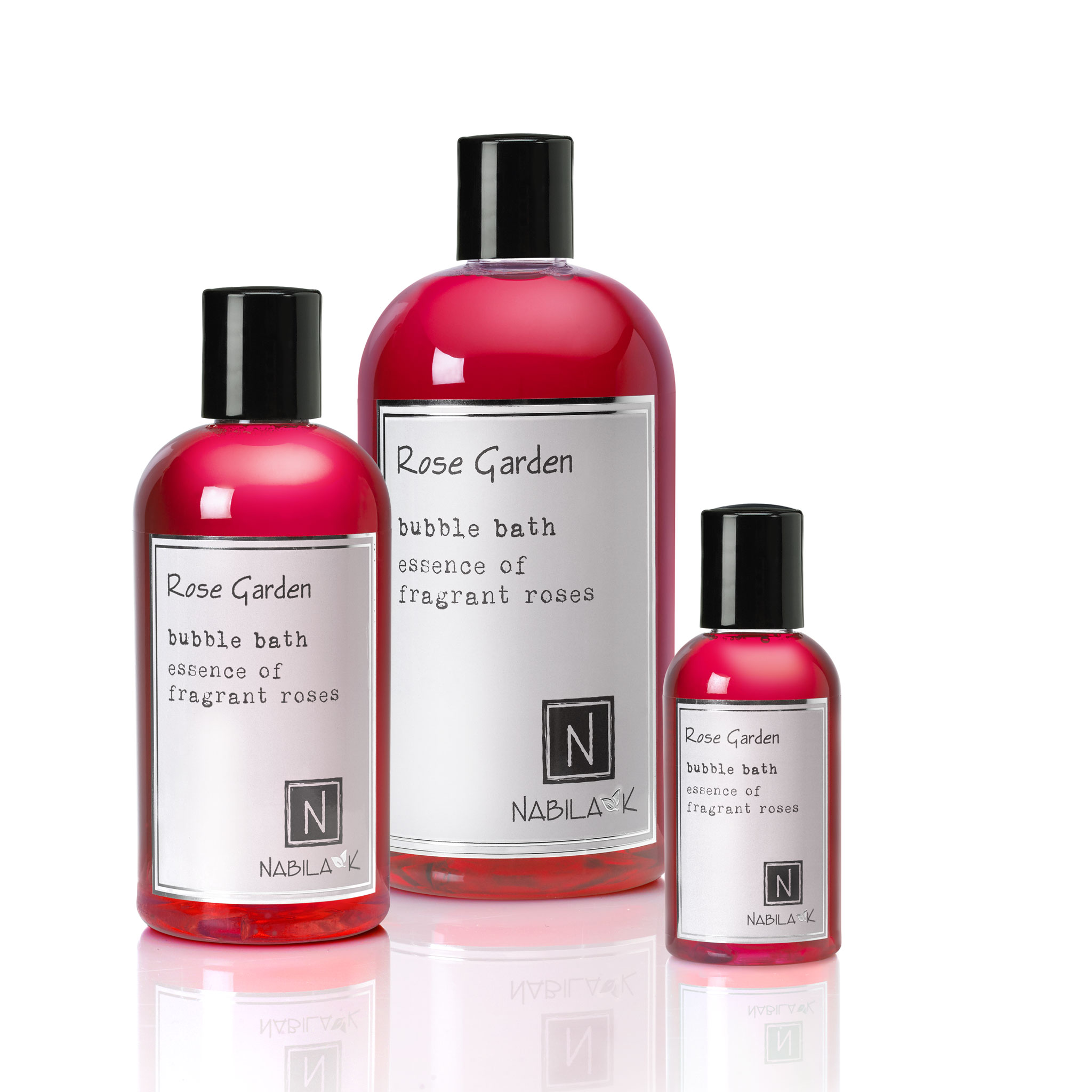 1 2oz and 1 8oz and 1 16oz bottle of rose garden bubble bath essence of fragrant roses