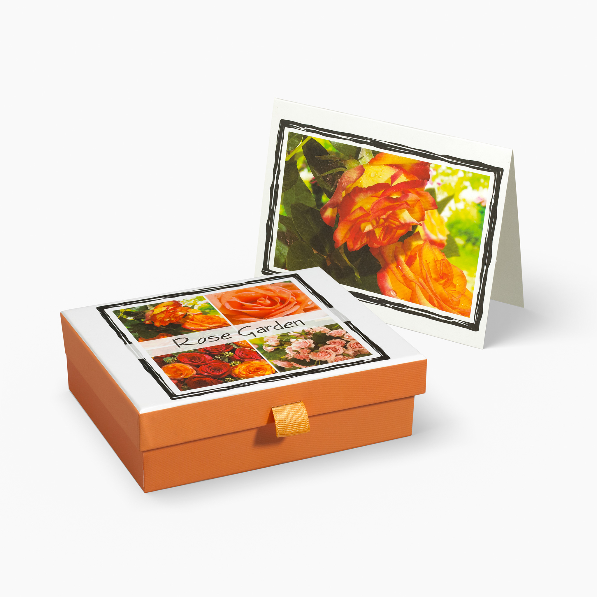 Nabila K's Rose Garden Card and Envelope Stationary with a box holding the cardss