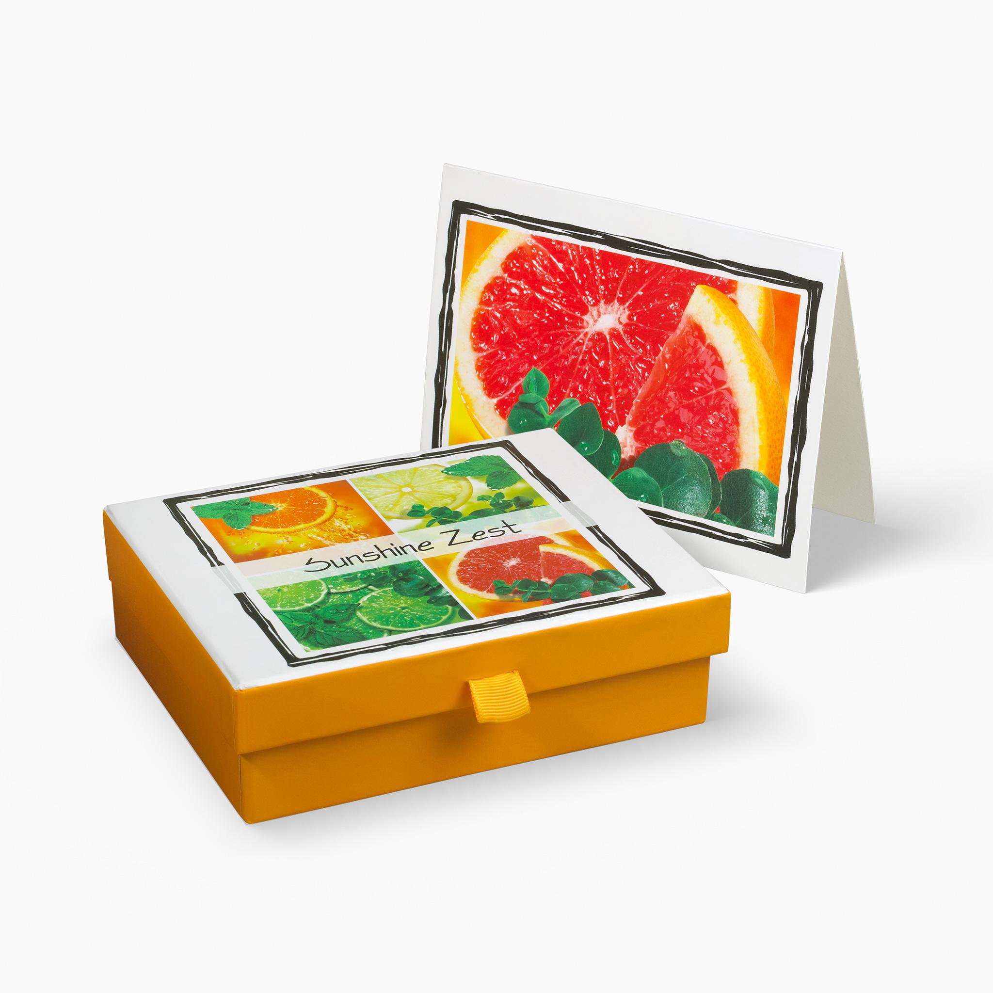 Nabila K's Sunshine Zest Card and Envelope Stationary with a box holding the cardss