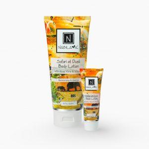 Set of 1 6.7 oz and 1 oz of Nabila K's Safari at Dusk Body Lotion with Aloe Vera and Vitamin C Moisturizing and Healing