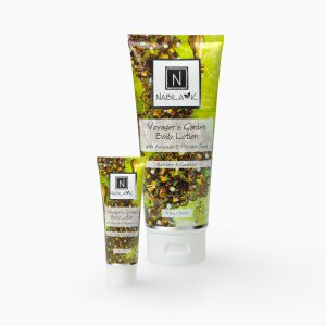 Set of 1 6.7 oz and 1 oz of Nabila K Voyager's Garden Body Lotion Restore and Condition in a plastic bottle
