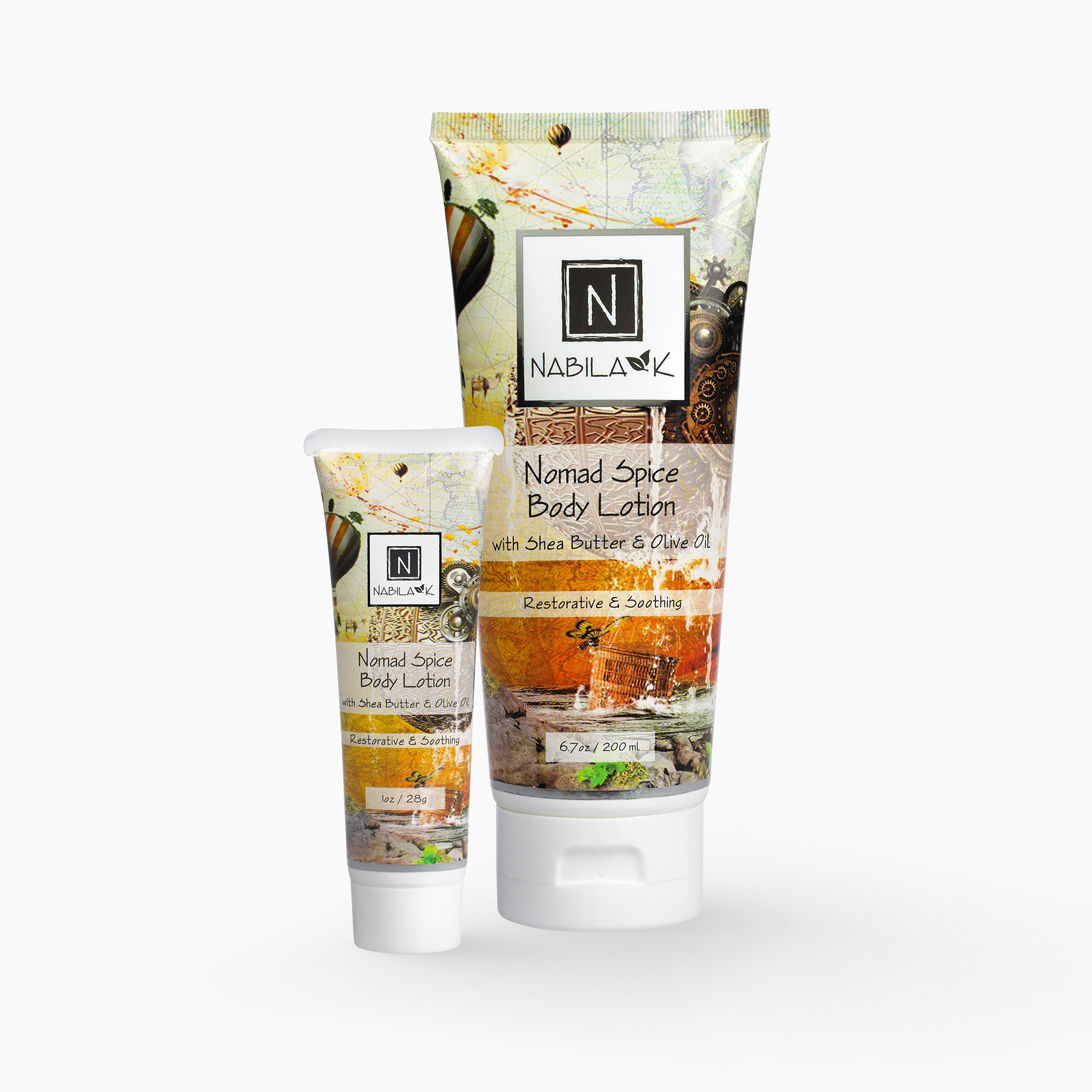 Set of 1 6.7 oz and 1 oz of Nabila K's Nomad Spice Body Lotion with Shea Butter and Olive Oil Restorative and Soothing in a plastic bottle