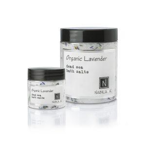 1 Travel Size and Large Sized Version of Nabila K's Organic Lavender Dead Sea Bath Salts