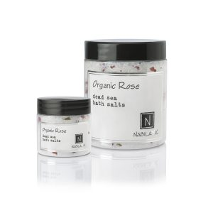 1 Travel Size and Large Sized Version of Nabila K's Organic Rose Dead Sea Bath Salts