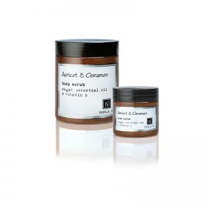 1 10oz jar and 1 3oz of Nabila K's Apricot and Cinnamon Body Scrub with sugar, essential oil and vitamin c