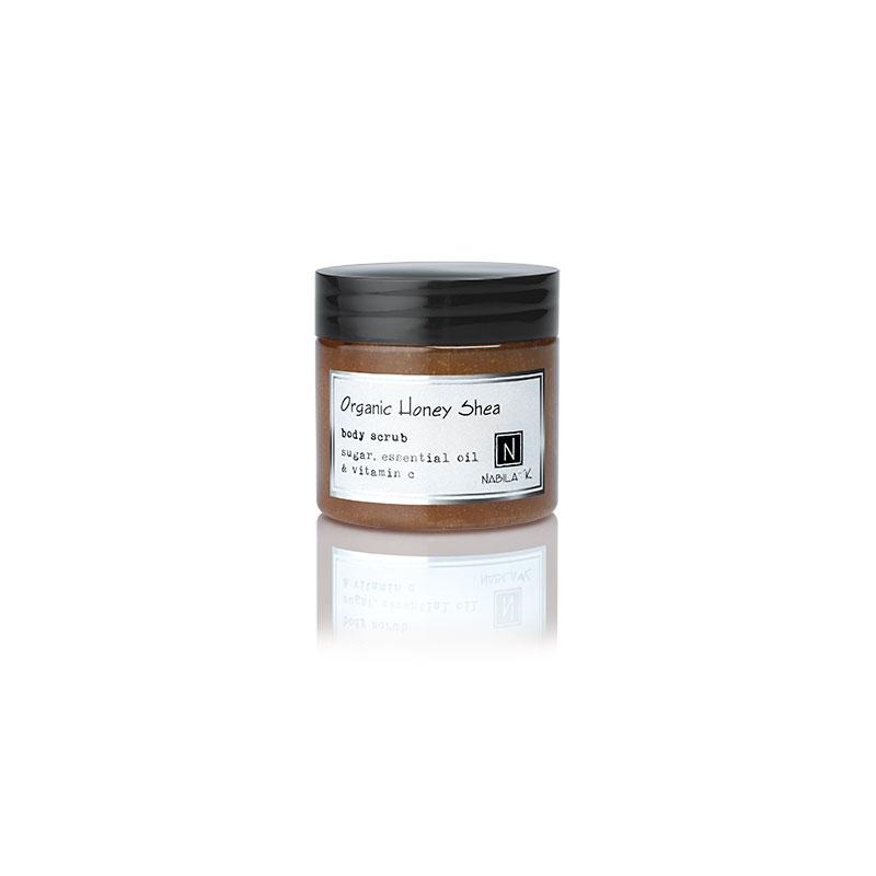 1 3oz Jar of Nabila K's Organic Honey Shea Body Scrub with sugar, essential oil and vitamin c