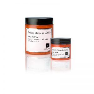 1 3ox jar and 1 10oz Jar of Nabila K's Organic Mango and Vanilla Body Scrub with sugar, essential oil and vitamin c