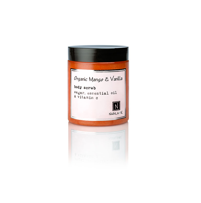 1 10oz Jar of Nabila K's Organic Mango and Vanilla Body Scrub with sugar, essential oil and vitamin c