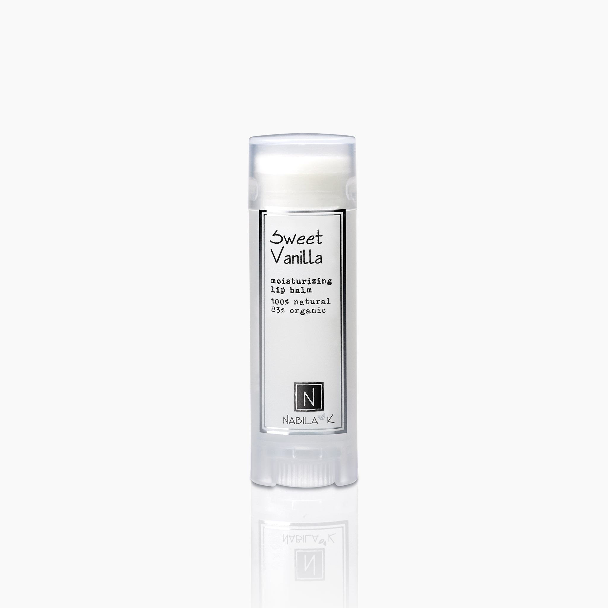 sweet vanilla moisturizing lip balm 100% natural 85% organic