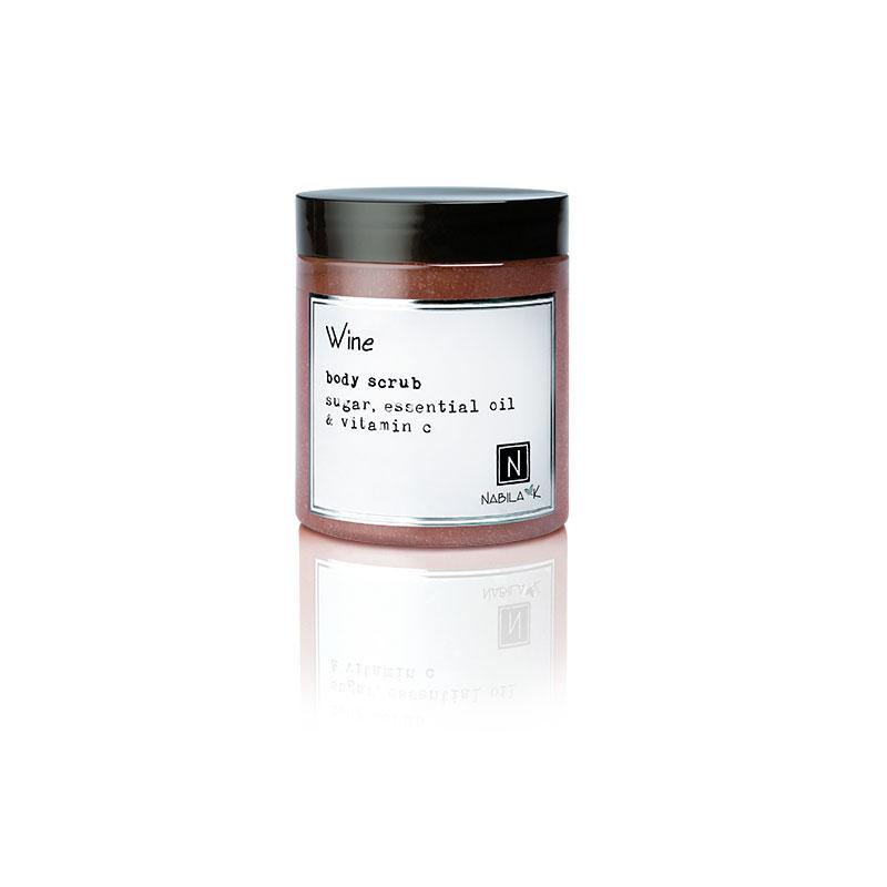 1 10oz Jar of Nabila K's Wine Body Scrub with sugar, essential oil and vitamin c
