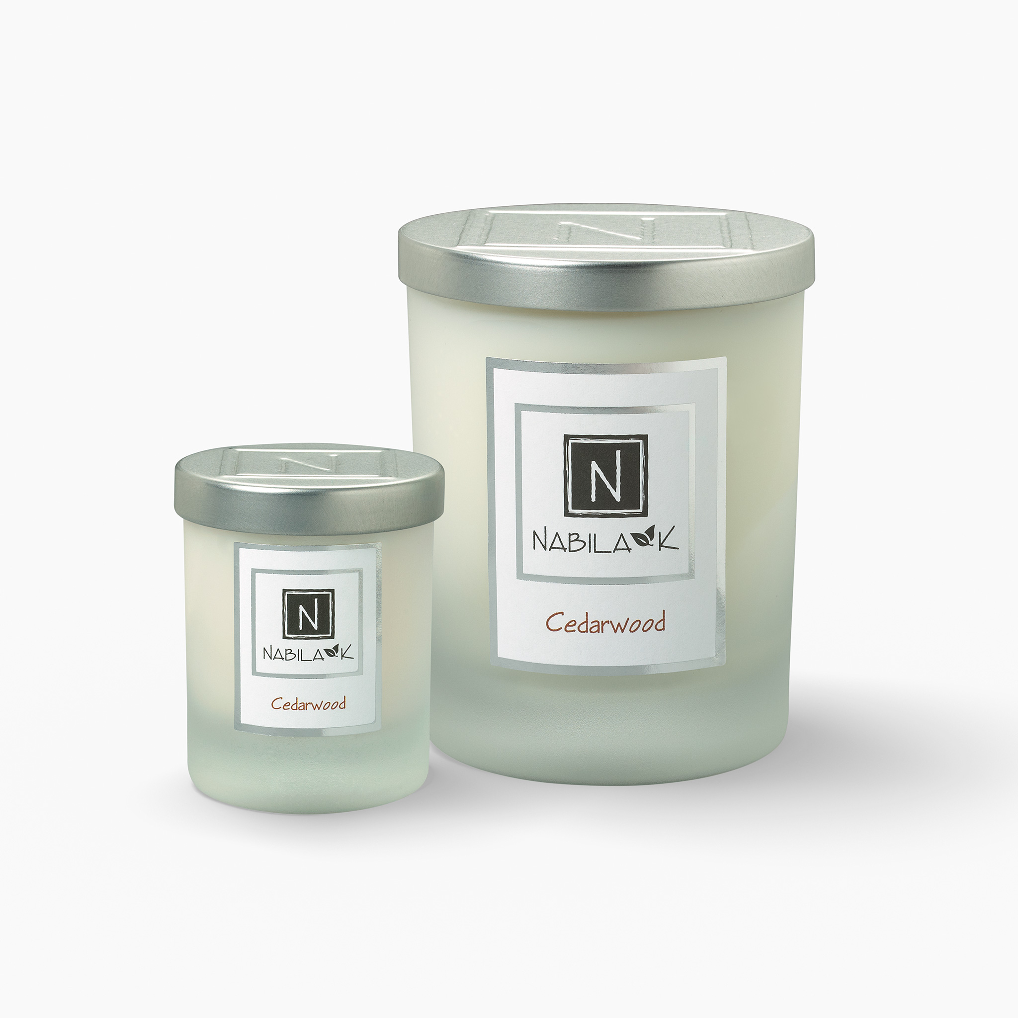 1 Large and 1 Small Version of Nabila K's Cedarwood Candle
