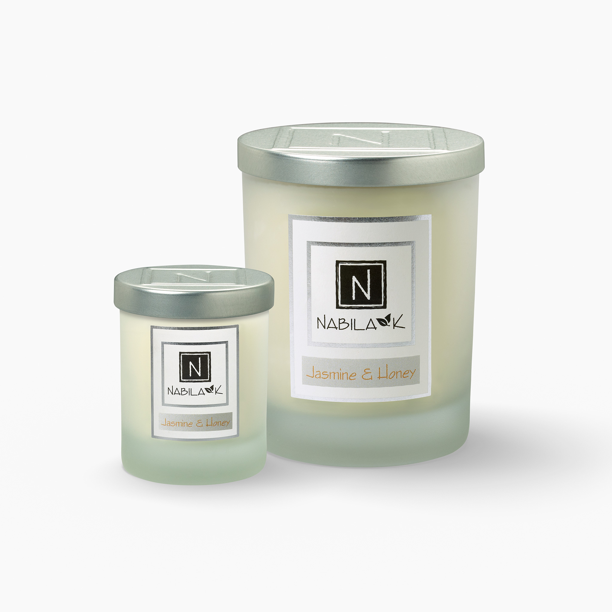 1 Large and 1 Small Version of Nabila K's Jasmine and Honey Candle