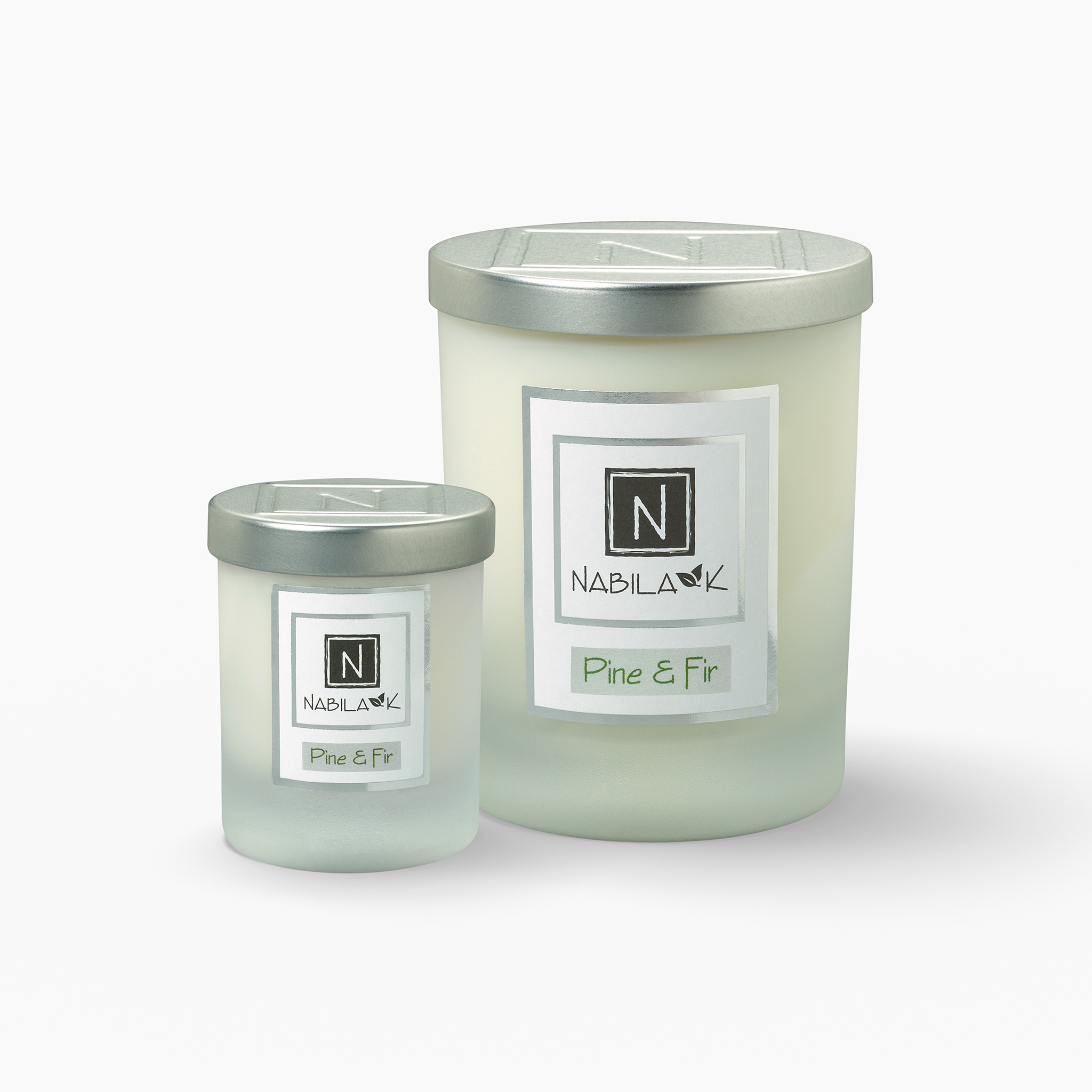 1 Large and 1 Small Version of Nabila K's Pine and Fir Candle