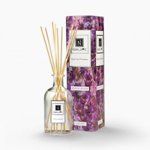 Nabila K's Heart de Provence with reeds inside the bottle with it's packaging next to it