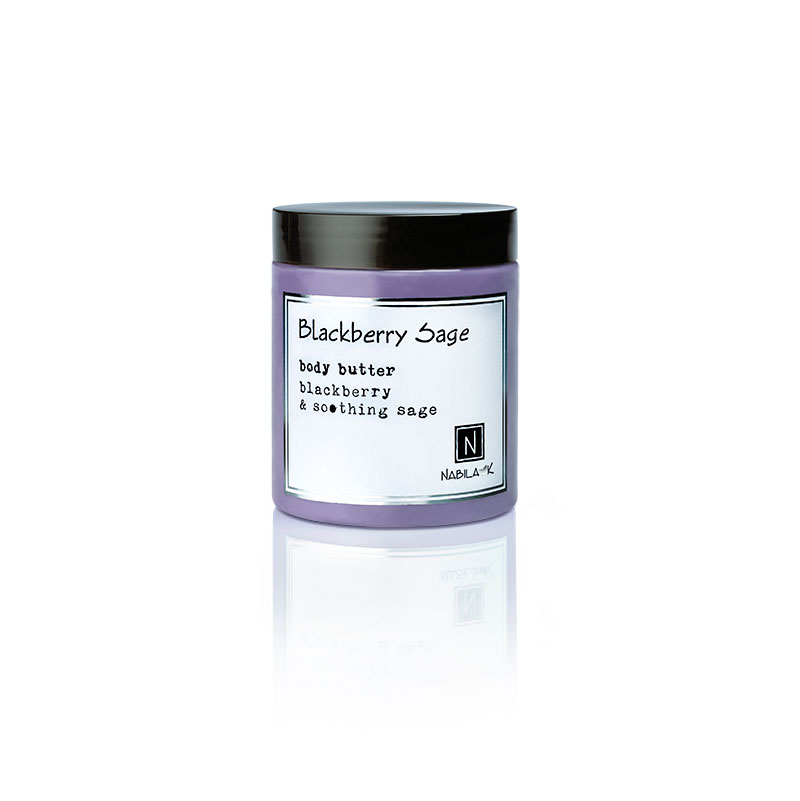 1 10oz jar of Nabila K's Blackberry and Sage Body Butter with blackberry and soothing sage