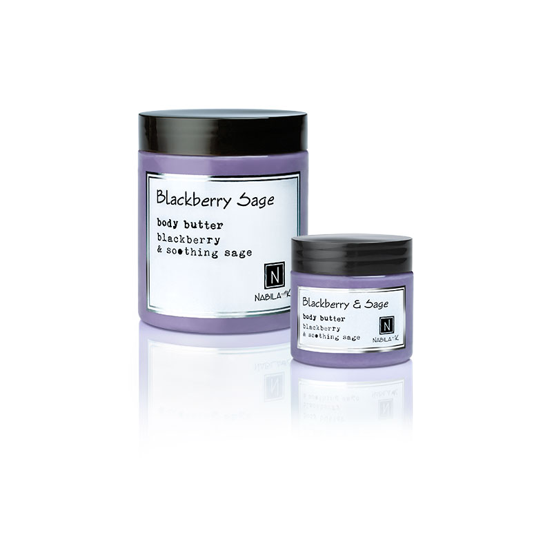 1 2oz and 10oz jar of Nabila K's Blackberry and Sage Body Butter with blackberry and soothing sage