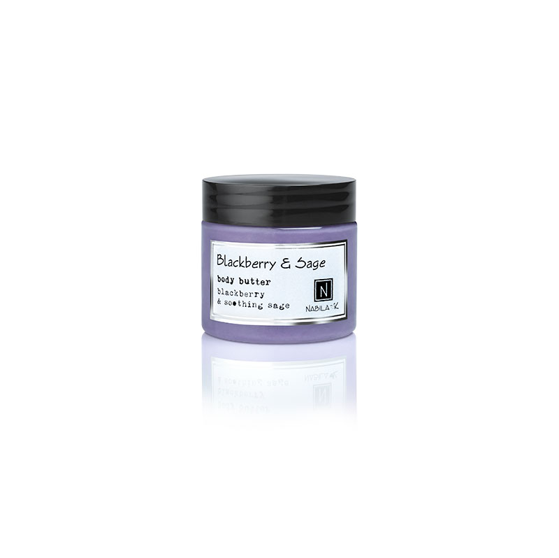 1 2oz jar of Nabila K's Blackberry and Sage Body Butter with blackberry and soothing sage
