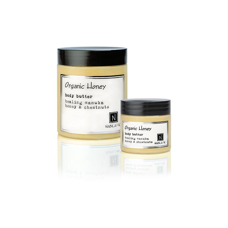1 2oz and 10oz jar of Nabila K's Organic Honey Body Butter with healing manuka honey and chestnuts
