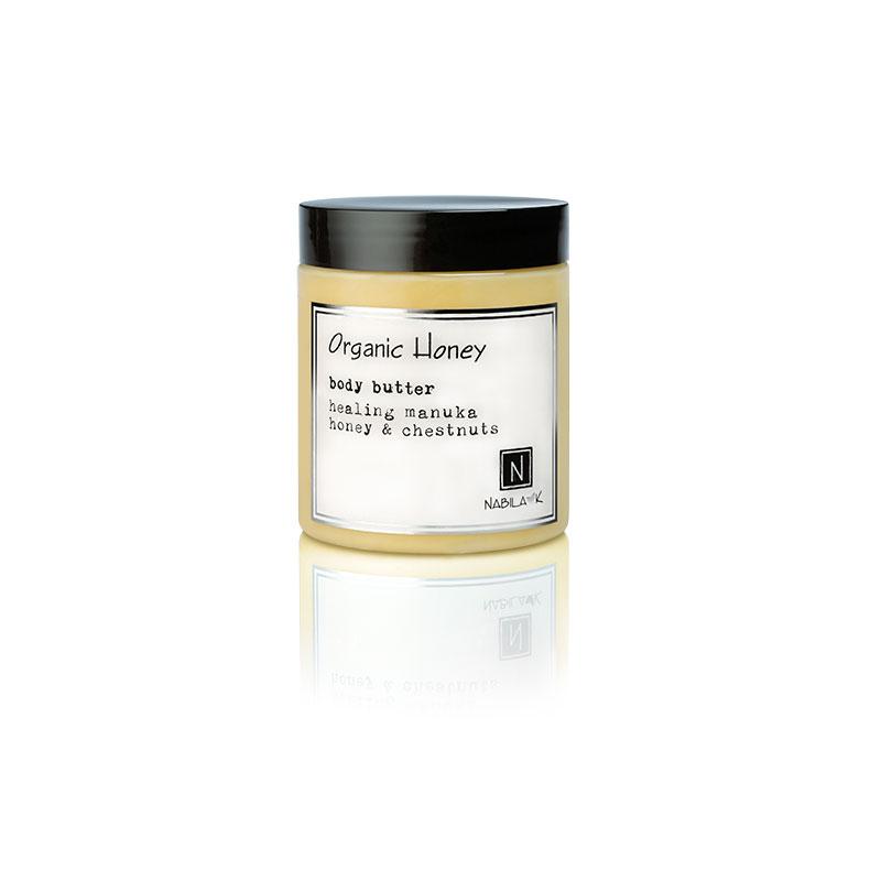 1 10oz jar of Nabila K's Organic Honey Body Butter with healing manuka honey and chestnuts