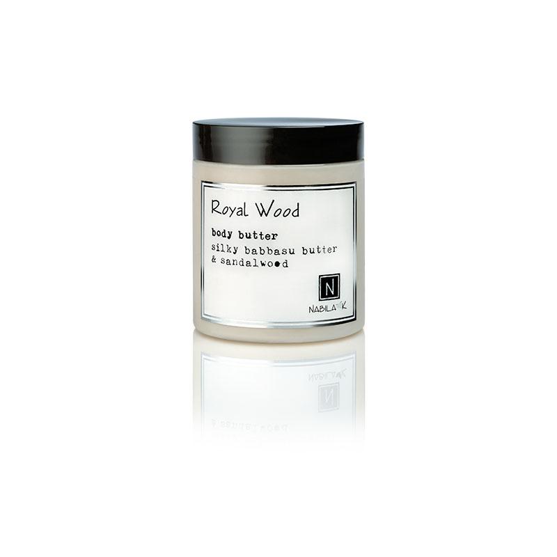 1 10oz jar of Nabila K's Royal Wood Body Butter with silky babbaau butter and sandalwood