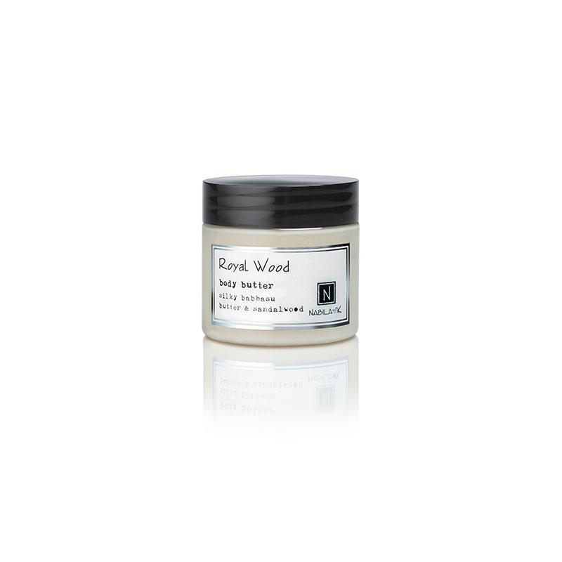 1 2oz jar of Nabila K's Royal Wood Body Butter with silky babbaau butter and sandalwood