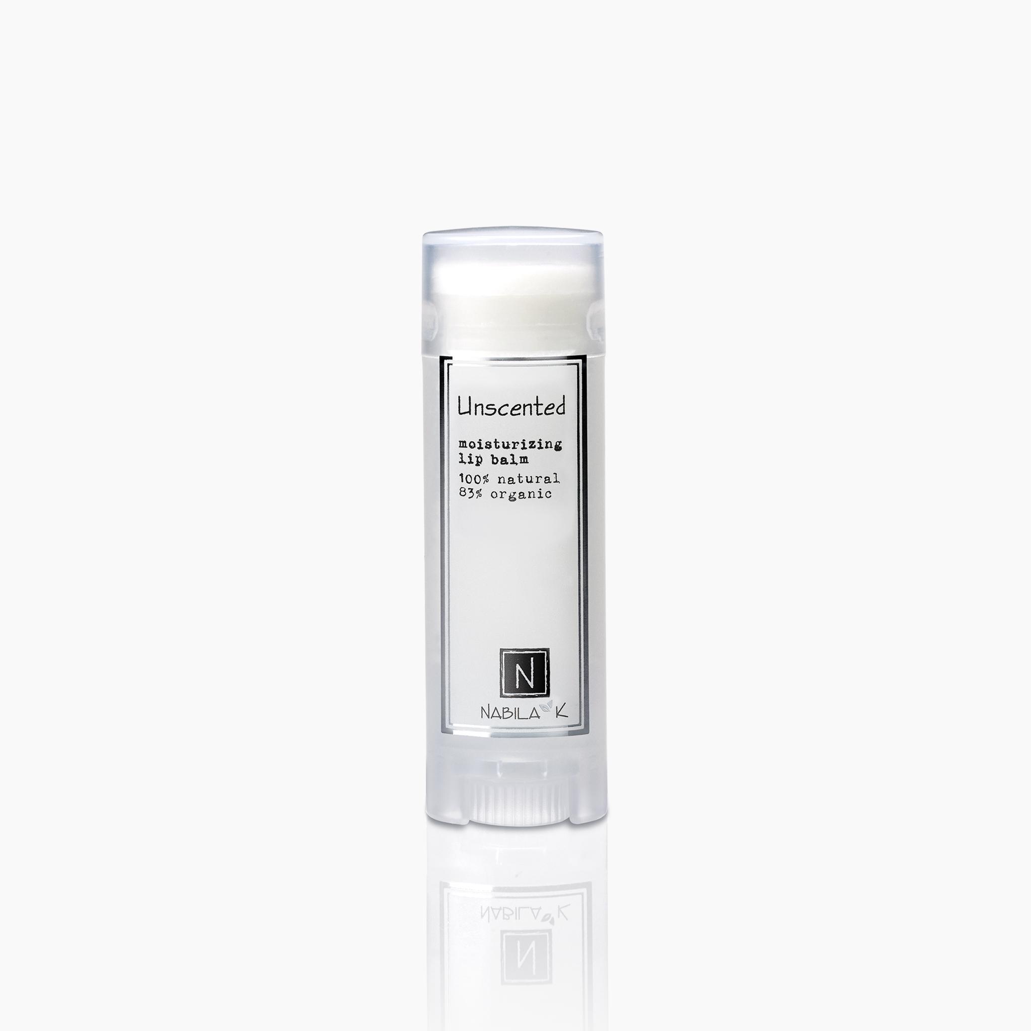Unscented moisturizing lip balm 100% natural 85% organic