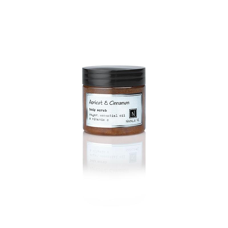 1 3oz jar of Nabila K's Apricot and Cinnamon Body Scrub with sugar, essential oil and vitamin c