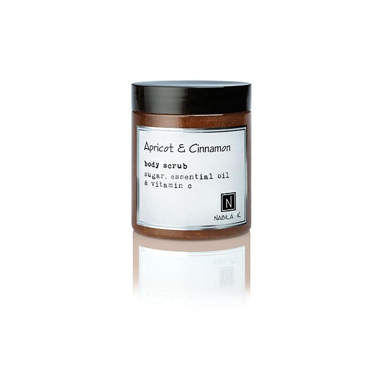 1 10oz jar of Nabila K's Apricot and Cinnamon Body Scrub with sugar, essential oil and vitamin c
