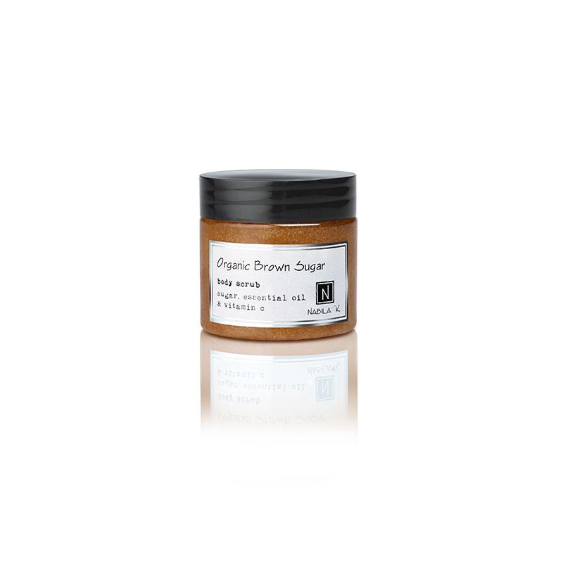 1 3oz jar of Nabila K's Organic Brown Sugar Body Scrub with sugar, essential oil and vitamin c