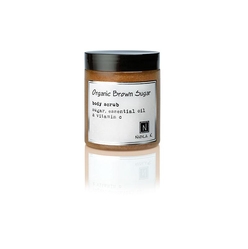 1 10oz jar of Nabila K's Organic Brown Sugar Body Scrub with sugar, essential oil and vitamin c