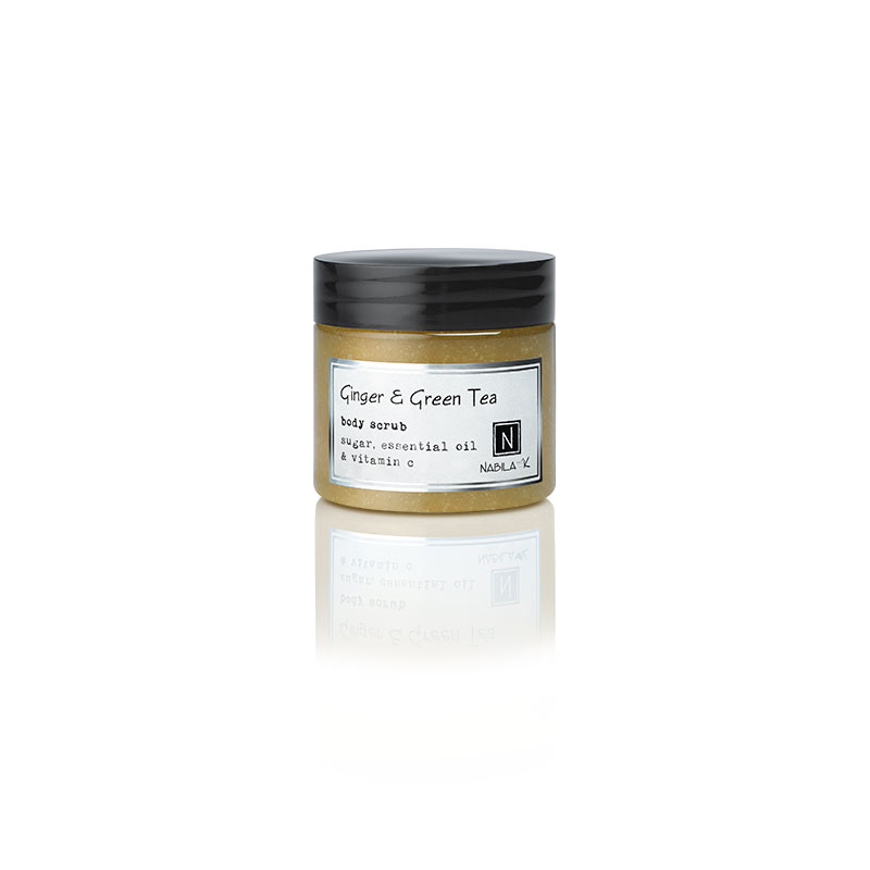 1 3oz Jar of Nabila K's Ginger and Green Tea Body Scrub with sugar, essential oil and vitamin c