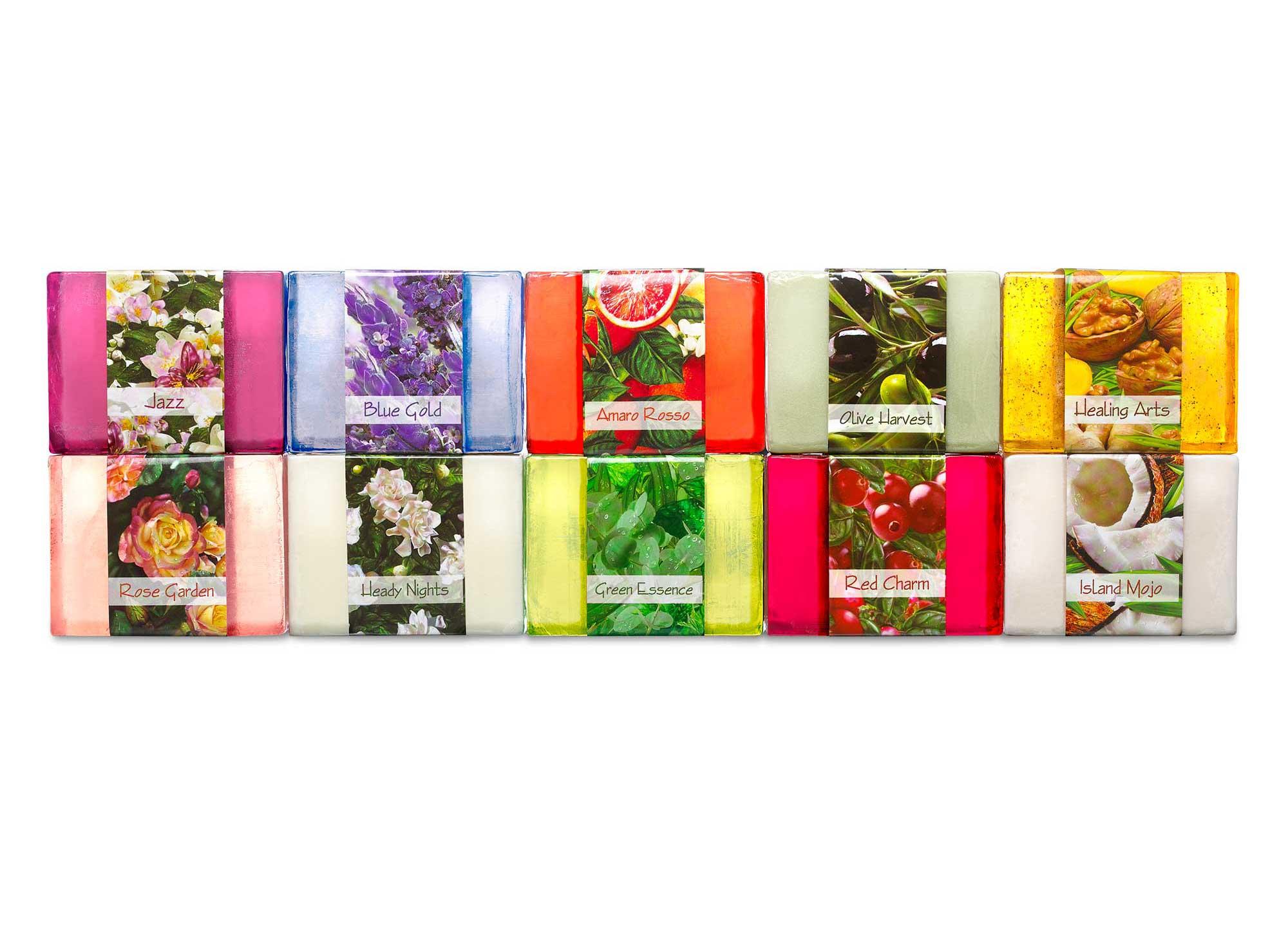 10 of Nabila K's Bar Soaps in different scents