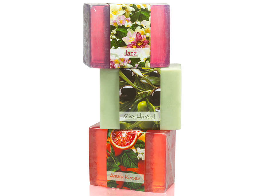 Enjoy the scent of the Mediterranean in this three soap set that includes jasmine, olives and pomegranate glycerin soaps.
