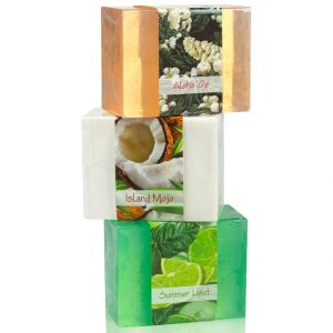 Refresh yourself with this 3 soap collection sure to make your bath time a tropical get away. Enjoy the refreshing scents of citrus, exotic flowers, and coconut.