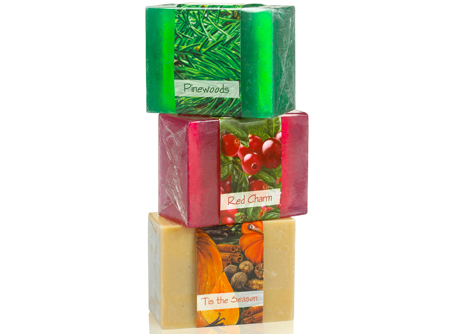 A perfect holiday gift, this three soap set includes scents of pine, cinnamon, nutmeg and pumpkins.