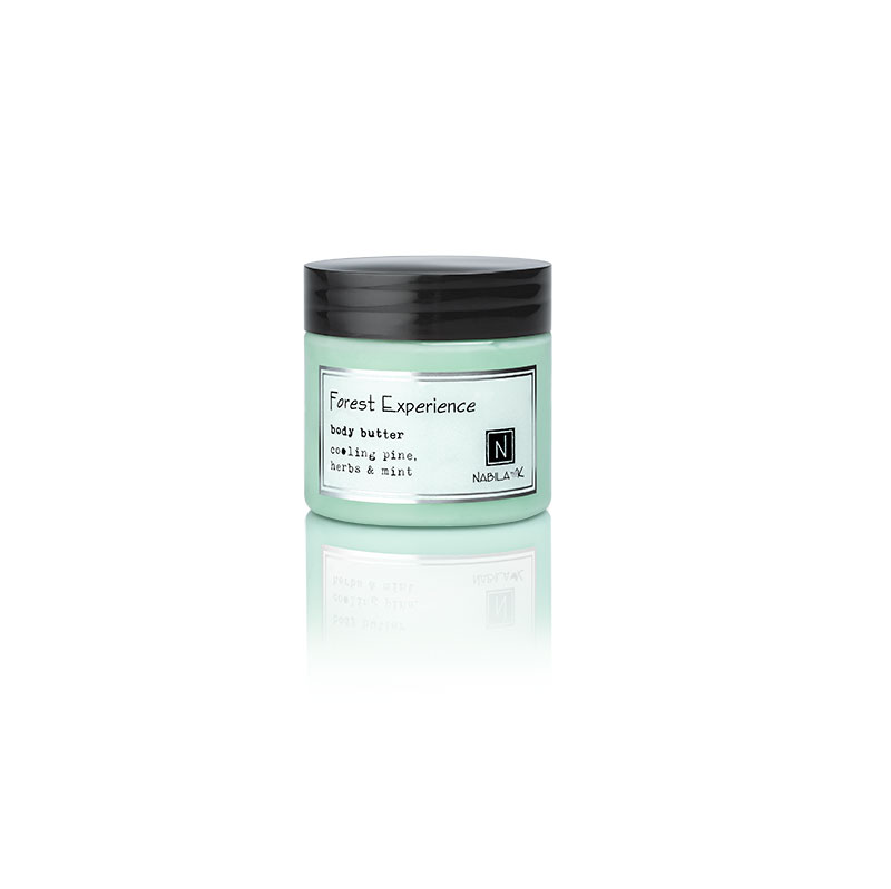 1 2oz jar of Nabila K's Forest Experience Body Butter with cooling pine herbs and mint