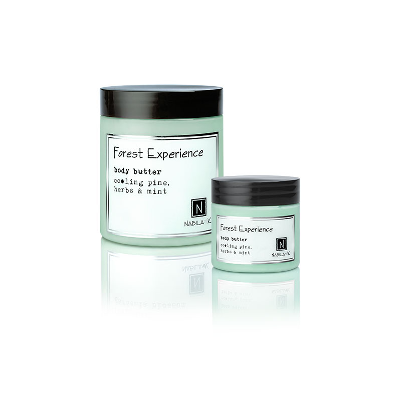 1 10oz and 2oz jar of Nabila K's Forest Experience Body Butter with cooling pine herbs and mint