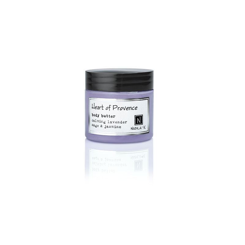 1 2oz jar of Nabila K's Heart of Provence Body Butter with calming lavender sage and jasmine