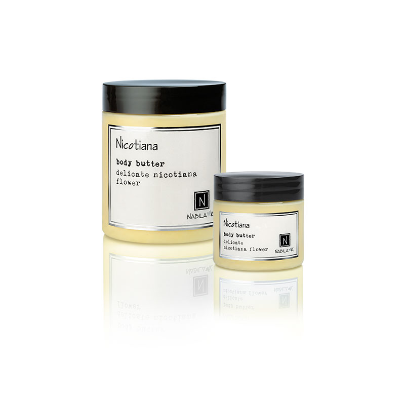 1 2oz and 10oz jar of Nabila K's Nicotiana Body Butter with delicate nicotiana flower