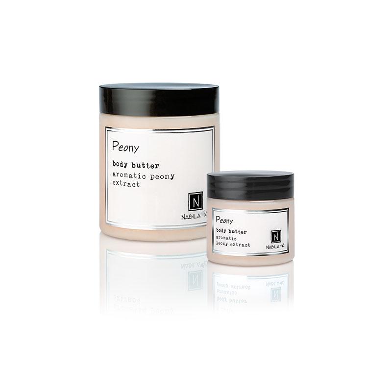 1 10oz and 2oz jar of Nabila K's Peony Body Butter with aromatic peony extract