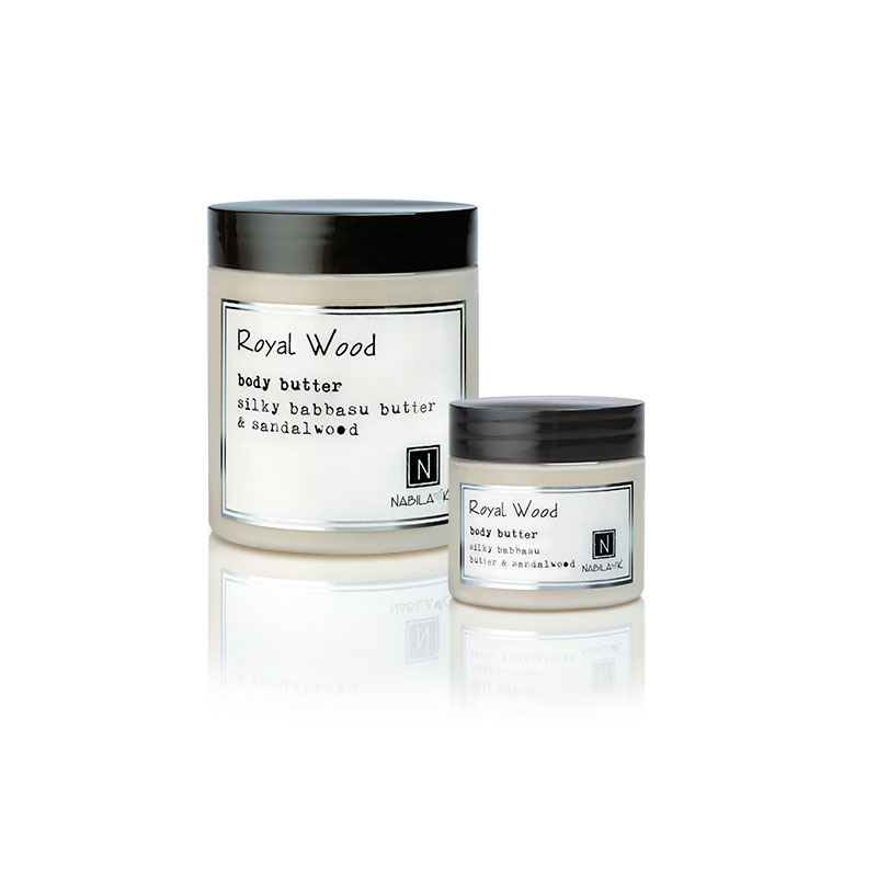 1 10oz and 2oz jar of Nabila K's Royal Wood Body Butter with silky babbaau butter and sandalwood
