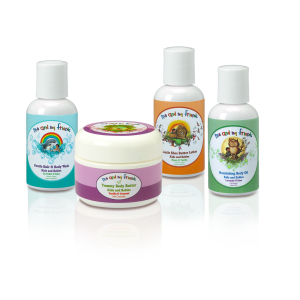 Nabila K's Travel Set for Babies and Kids which included 1 Me and My Friends Gentle and Body Wash Kids and Babies Lavender and Lime, 1 yummy body butter kids and babies vanilla and coconut with chocolate, gentle shea butter lotion kids and babies honey and vanilla honey and vanilla, nourishing body oil kids and babies lavender and rose