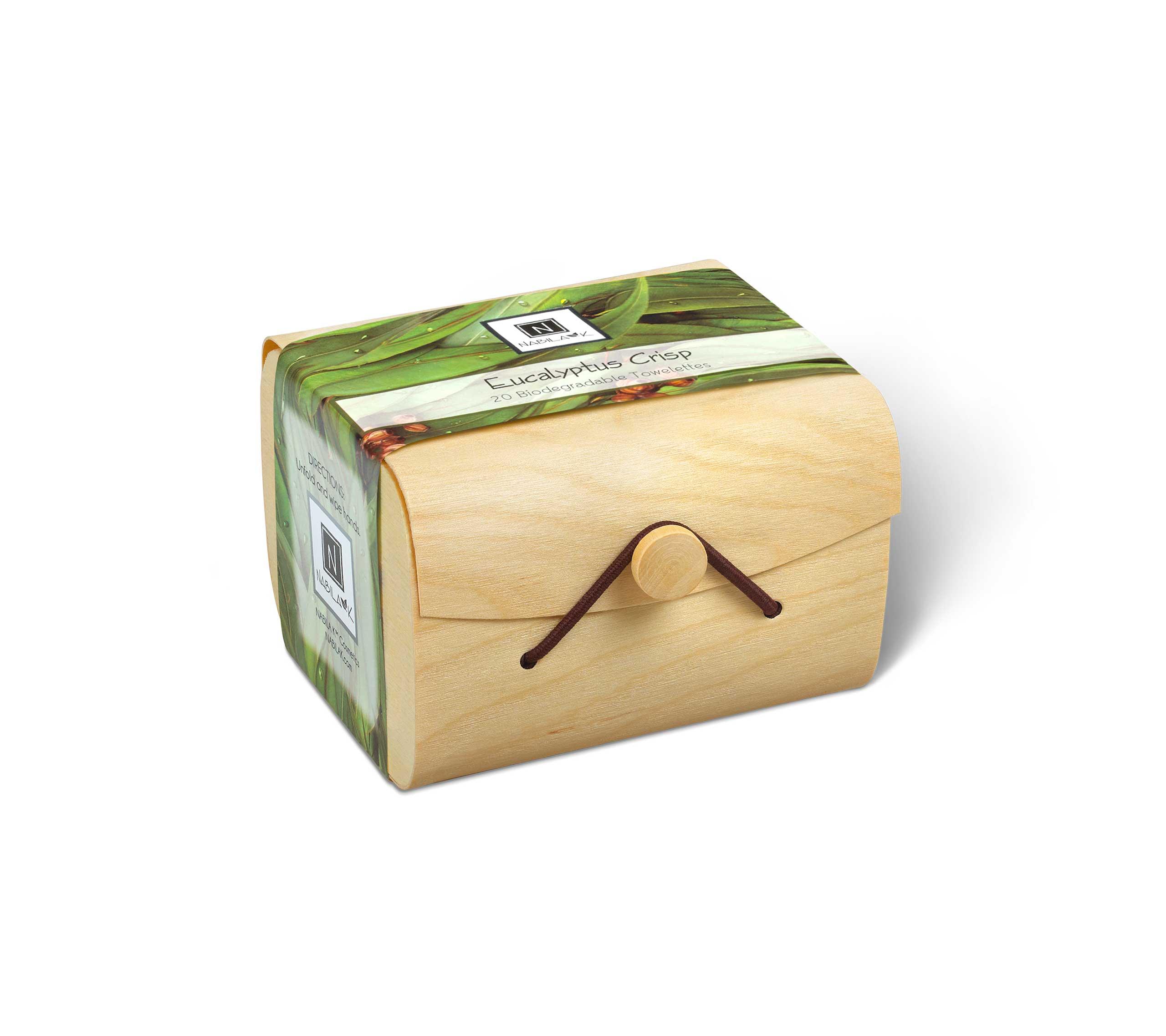 1 wooden box of Nabila K's Eucalyptus Crisp Biodegradable Towelettes