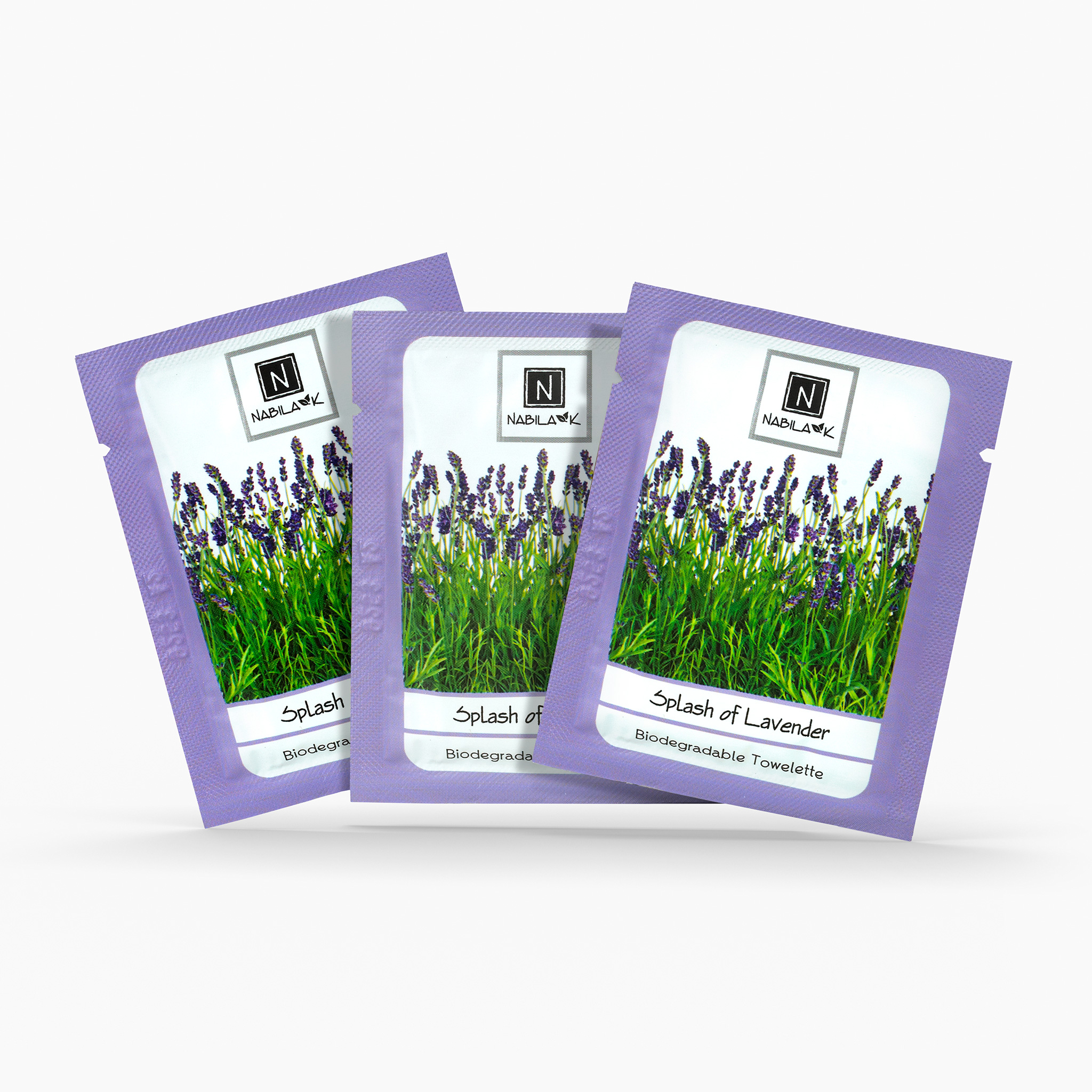 3 Single Use Packs of Nabila K's Splash of Lavender Biodegradable Towelettes