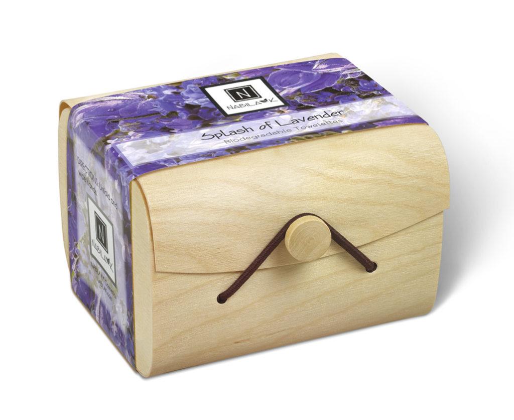 1 wooden box of Nabila K's Splash of Lavender Biodegradable Towelettes