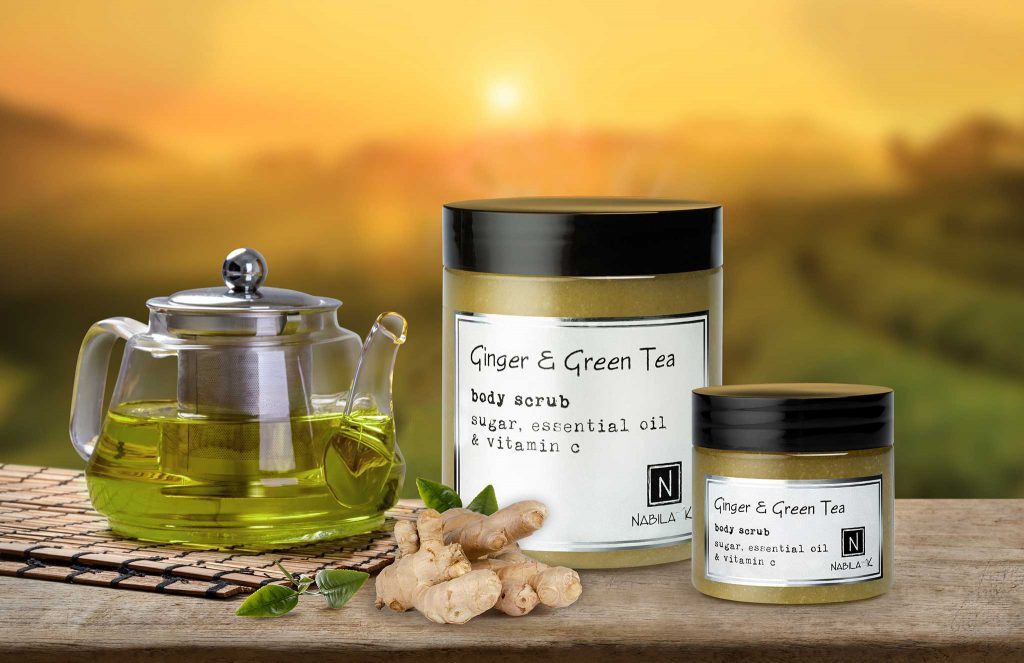 1 Large and 1 Small Jar of Nabila K's Ginger and Green Tea Body Scrub Sugar, Essential Oil and Vitamin C