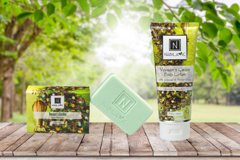 1 bottle of Nabila K's Voyager's Garden Body Lotion with Avocado and Passion Fruit Restore and Condition and 1 of Nabila K's Voyager's Soap