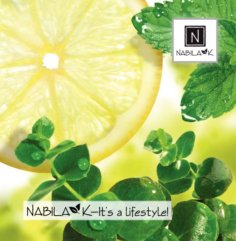 An image of a sliced lemon with Nabila K's Logo on the top right of the picture